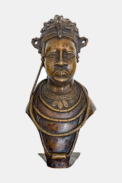 Buste de reine Edo Benin Bronze. Nigéria