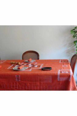 Grande nappe en toile de coton tissée main, couleur Orange