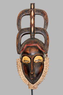 Masque Yaouré/Yoyouré Côte d'Ivoire livré avec un socle