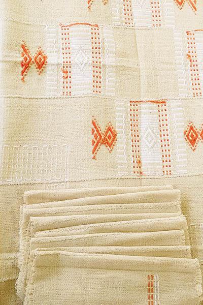 Nappe ethnique en toile de coton tissé main Côte d'Ivoire