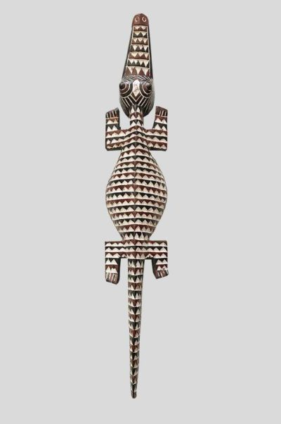 masque crocodile gurunsi en bois polychrome