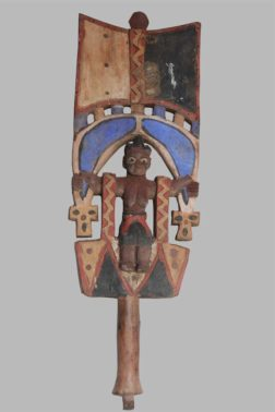 Bâton Sceptre polychrome Oshe Shango Nagô Bénin