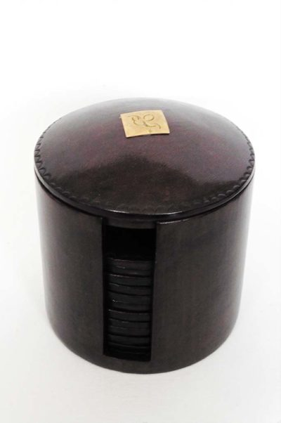 Sous-verre touareg en cuir, couleur Moka