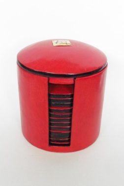 Sous-verre Touareg en cuir Rouge