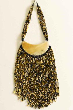 Collier corne et perles jaune