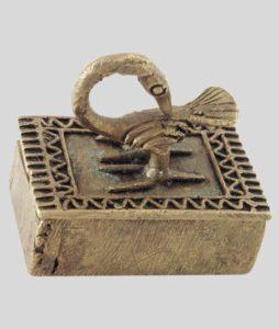 Boîte à poudre d'or décorée du symbole Adinkra SANKOFA