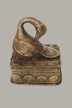Boîte akan adinkra en bronze